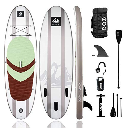 Roc Inflatable Stand Up Paddle Board with Premium sup Accessories & Backpack, Non-Slip Deck, Waterproof Bag, Leash, Paddle and Hand Pump. (Desert)