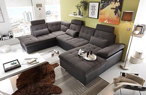 moebel-guenstig24.de Couch Jakarta Wohnlandschaft Sofa Lederlook Schlaffunktion Schlafsofa dunkelgrau grau Ottomane Links 324 cm
