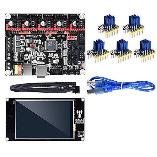 QuRRong Carte mère d'imprimante 3D Imprimante intégrée V1.3 contrôleur 3D + 5pcs TMC2130 Stepper Motor Drivers + TFT3.5 écran Tactile Kit Mainboard pour la Connexion et Le Fonctionnement