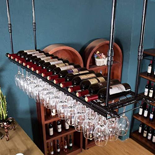 DINGZXC Bar Estante de Vino Porta Botellas Estante de Vino Portavasos de Hierro Forjado Europeo Portavasos Colgante Creativo Portavasos de Techo Alenamiento, 2,80 * 30Cm,2,el 100 * 30Cm