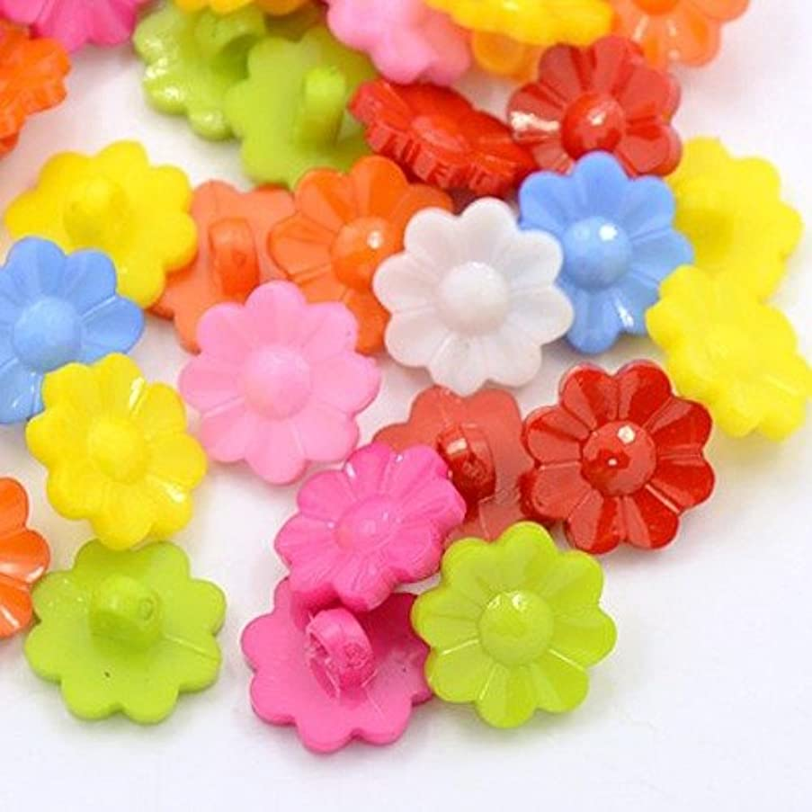PEPPERLONELY Brand 100PC Mixed Color 1-Hole Acrylic Plastic Flower Shank Dyed Buttons 15x2mm