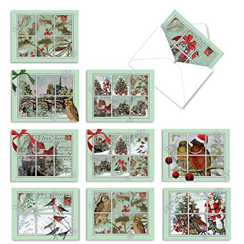The Best Card Company - 10 Holiday Note Cards for Christmas - Festive Bulk Assortment, Boxed Notecards with Envelopes (4 x 5.12 Inch) - Merry Mail M10013XS