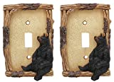 Ebros Set of 2 Novelty Woodland Rustic Forest Black Bear By Branch Twigs Wall Light Cover Plate Hand Painted Sculpted Resin Home Decor Accessory (2, Single Toggle Switch)