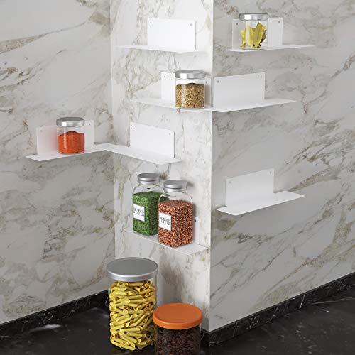 BasicForm Organizzatore Portaspezie Impilabile, 2 Opzioni d'installazione Strisce adesive/Viti, Scaffali in metallo per Armadietti Cucina (8 pz bianca)