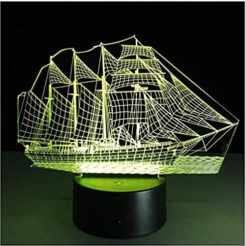 Złudzenie optyczne lampa 3D lampka nocna piękna morska łódź stół biurko dekoracja do sypialni dekoracja stołu świąteczny prezent świąteczny dla dzieci / chłopców/mężczyzn/z ładowaniem USB, zmiana koloru