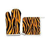 FHTDH Suministros de cocina, guantes de horno y juegos de ollas Leopard Tiger Grain Print Pattern Oven Mitts Potholder Set for Kitchen Heat Resistant Non-Slip Heat Insulation Gloves Pot Holders Cookin