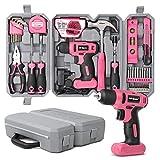 Hi-Spec 58-teiliges Pinkes Heimwerkerset mit 8V Bohrschrauber für Holz und Kunststoffe. Allzweck-Handwerkzeuge für Haushalt & Büro DIY Reparatur & Wartung. Aufbewahrt in einem kompakten Tragekoffer