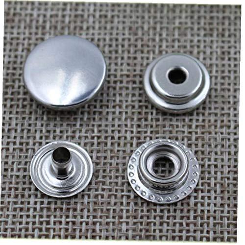 NIDONE 50 Establece un botón del Metal Broche de Plata de presillas Kit Utilizado para Arte de Cuero, Arte de DIY, Mono, Chaqueta y Pantalones Vaqueros, 10 mm de diámetro