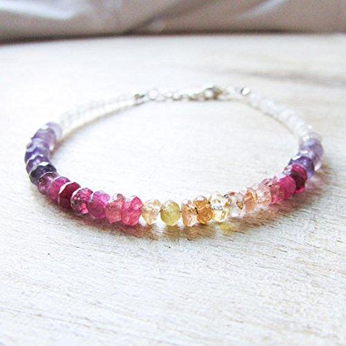 LOVEKUSH War6753 - Pulsera de color rosa y morado (amatista turmalina, piedra lunar, piedra colorida, Ombre, pulsera vibrante, delicada apilable de 3,5 a 4 mm)