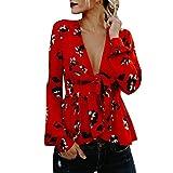 VJGOAL otoño Mujer Sexy Rojo con Cuello en V Estampado Floral Gasa Blusa Manga Larga asimétrica Dobladillo con Volantes Blusa Superior(L,Rojo)