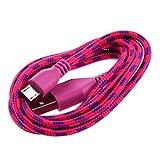 Gaetooely 1M Cable de Tela Trenzada USB Cable de Datos y sincronizacion Cable de Cargador para telefono movil, Rosa roja