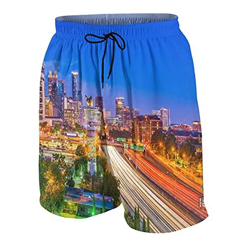 Pantalones Cortos de Playa para Hombre,Atlanta, Georgia, EE.UU.Centro de la Ciudad en N,Trajes de baño de Secado rápido Trajes de baño con Forro de Malla y Bolsillos