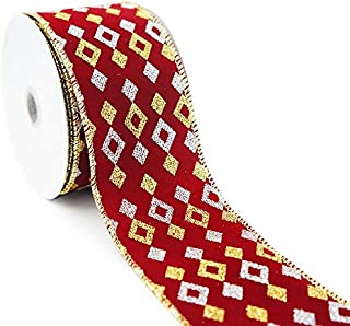 CT CRAFT LLC Wine Velvet with Gold and Silver Diamonds Wired Christmas Ribbon - 2.5 Inch x 10 Yards x 1Roll