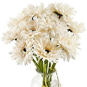 Silk Flower Arrangements FiveSeasonStuff Gerbera Daisy, Outdoor Artificial Silk Flowers Arrangement & Wedding Bouquet (10 Floral Stems, Champagne Ivory)