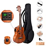 Caramel CB417 All Solid Mahogany Butterfly Style Baritone Acoustic Electric Ukulele with Truss
