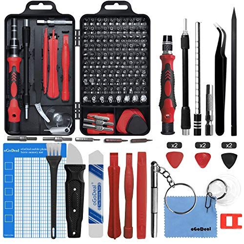 oGoDeal DIY Tool kit Precision Screwdriver Set Electronics 127 in 1 Pry Hand Tools for Fixing Computer, Mobile Phone,PC Laptop,Tablet,iPad,Watch, Jewelry, Eyeglasses,PS3,PS4,Xbox,Nintendo (Red)