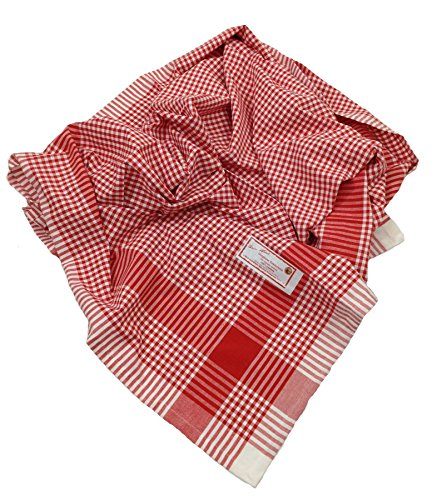 Cherry White Gingham Woven Fabric Tablecloth