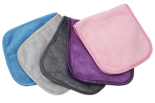 "S&T INC. Always Off Reusable Makeup Remover cloths, 6"" X 12"", Solid Assorted Colors, 5 Pack"