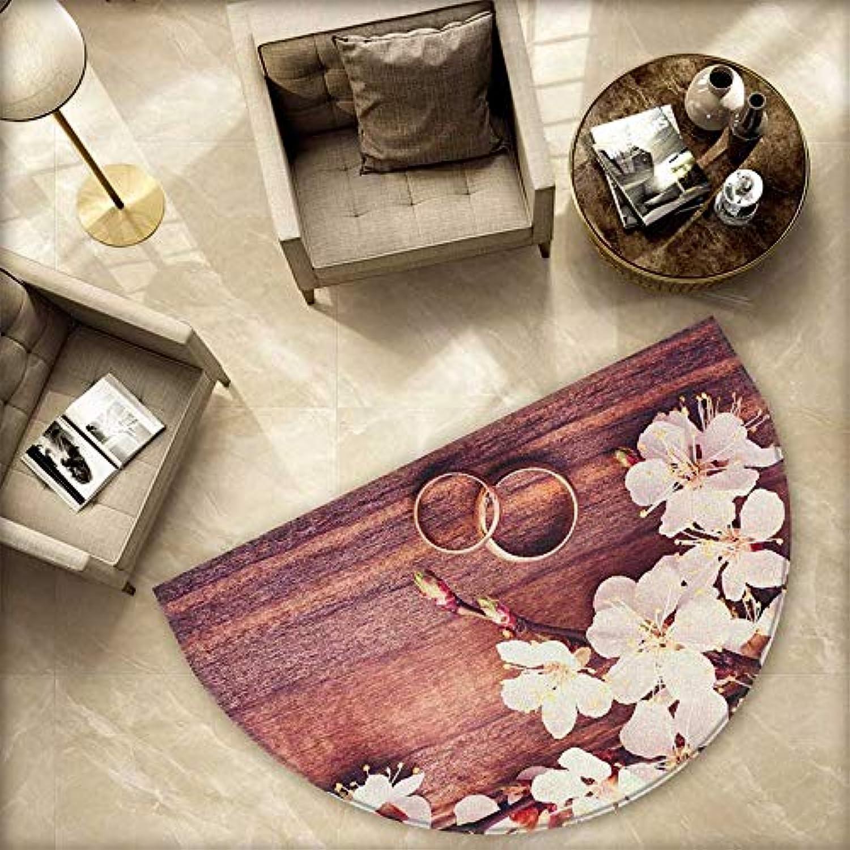 Wedding Semicircle Doormat Celebration Flowering Branch Delicate Rings on Wooden Surface Rustic Effect Halfmoon doormats H 78.7  xD 118.1  Brown White gold