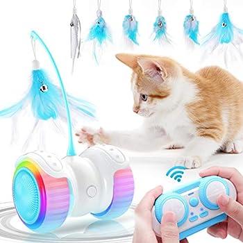 Jionchery Jouet interactif électrique pour chat - Télécommande intelligente - Rechargeable par USB - Lumière colorée - Cloche - Plume - Accessoire pour chat - Jouet amusant