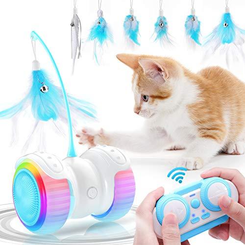 Jionchery Interaktives Katzenspielzeug Elektrisch, Smart Fernbedienung Kätzchenspielzeug USB Wiederaufladbares buntes Licht, Glocken, Feder Katzenzubehör Spielzeug für Katzen Kätzchenspaß