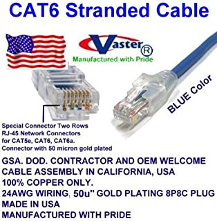 70 Ft UTP CAT6 Gigabit Patch Cable VasterCable Cat.6 Cable Yellow Color 3 Pack