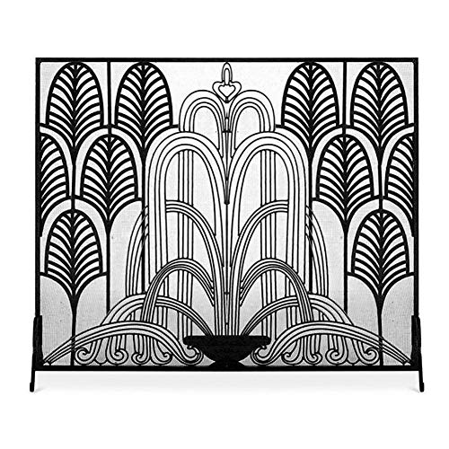 Fireplace Screens YXX- Single Panel Extra Tall 32 Inch/81cm, Home Winter Retro Decor Fire Place Protector Fence with Metal Mesh Decor (Color : Black)