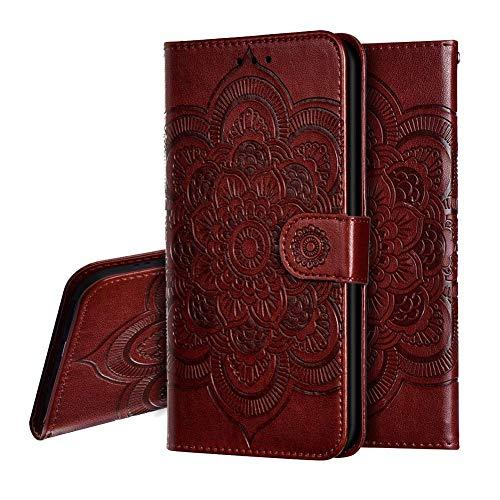 IMEIKONST Xiaomi Mi A2 Lite Hülle Mandala Embossed Premium Leder Flip Brieftasche Kartenfächern Holder Magnetic Ständer Schutzhülle Handyhülle für Xiaomi Redmi 6 Pro Mandala Brown LD