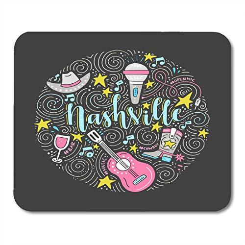 Muis Pads Kleurrijke Gitaar De Cirkel Nashville Amerikaanse Stad Land Muziek Hoofdstad van de VS Wijn Mousepad muismat