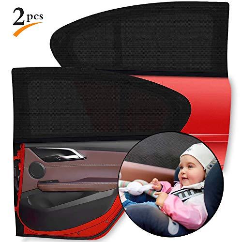 CVOZO Parasol lateral para coche, 2 piezas, parasol universal para coche, red para parasol para coche, para ventana lateral, protege a pasajeros, niños, niños y mascotas, 110 x 50 cm