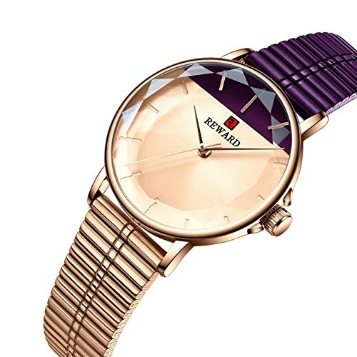 TXOZ-Q Marca DE Lujo Mujer Reloj DE Reloj DE Lucha Cristal DE CUARTUS Reloj DE LADAS Malla DE Malla DE IMPLEAJE DE Acero Inoxidable (Color : Purple with Box)