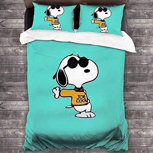 QWAS Snoopy - Juego de ropa de cama de Snoopy, funda nórdica de microfibra ligera (X01, 140 x 210 cm + 80 x 80 cm x 2)