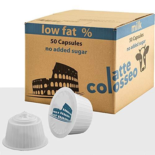 Latte Colosseo 50 Dolce Gusto Kompatible KapseIn (MILCH NIEDRIG FETT, KEIN ZUCKER HINZUGEFÜGT, 50 Kapseln, 50 Tassen)