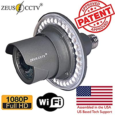 Zeus CCTV WiFi Floodlight Bulb Camera Home Security System Wireless Outdoor Waterproof Remote Control Camera Night Vision 1080p E26 LED Floodlight Cam (16GB, Single Camera Model)