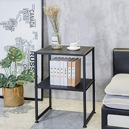 Modern Metal 2-Tier Couch Table, Sofa Table, Coffee Table with Storage, Bedside Table for Living Room/Bedroom/Office, Home Organizer, 15.7x19.7x29.5 Inch