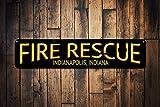 Zor345damilla Señal del Estado de la Ciudad de Rescate de Incendios, decoración Personalizada de Chimenea, señal de Bombero, señal de Cueva de Bombero, Aluminio de Calidad