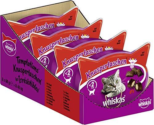 Whiskas Katzensnacks Knuspertaschen mit Rind, 8 Packungen (8 x 60 g)