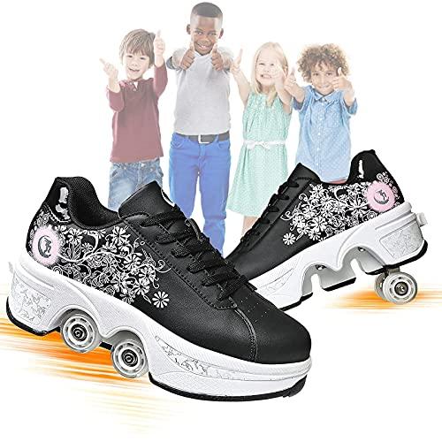 MQJ Zapatos Deformados Multifuncionales Juveniles para Niños Estudiantes para Adultos Roller Patinaje Patines de Patinaje Deportivo Al Aire Libre Patinaje de Patinaje Viaje Mejor Opción, para Unisex