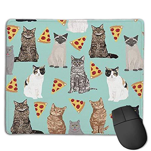 Katt Pizza musmatta med sydda kanter, musmatta med halkfri bas, lämplig för arbete, spel, kontor, hem, snabb exakt spel- och kontorskontroll