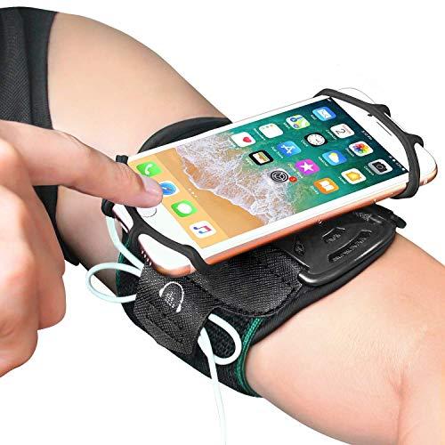 Bovon Handyhalterung Joggen, 360° Drebares Atmungsaktives Oberarm Handytasche Laufen für Allen 4.0-6.5 Zoll Smartphones, Sportarmband mit Schlüsselhalter für Joggen Radfahren Wandern