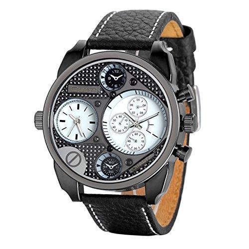 Avaner Grande Reloj Deportivo Militar para Hombre 2 Zonas de Horario Diferente, Reloj de Piloto Correa de Cuero Analogico, Diseño Original de Color Negro, Regalo de San Valentín