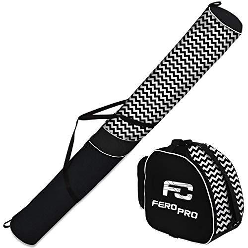 Ferocity Premium Housse à Skis Sac & Sac à Chaussures de Ski Set de Ski Sac pour Bottes 1 Paire Ski 170 cm Casque Zigzag [053]