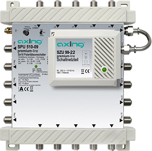 Axing SPU 510-09 SAT-Multischalter 10 Teilnehmer Premium-Line erweiterbar aktiv Quad-tauglich energiesparend (5 x 10)