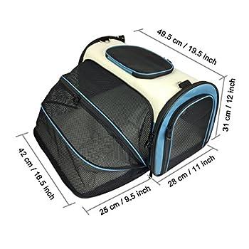 Becko Sac de transport extensible pliable pour animal domestique, sac à main pour transport, voyage avec rembourrage et extension.