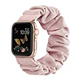 Compatible for Scrunchie Apple Watch Band 38mm 42mm 40mm 44mm Cute Print Elastic Watch Bands Women Bracelet Strap for Apple iWatch Series 6 5 4 3 2 1 (Pink, 38mm/40mm-Small)