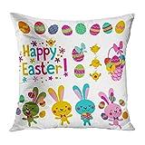 SRhui Dekokissenbezug Kissenbezug Frohe Ostern Elemente Kaninchen Eier Weiß Cartoon Kissen Home DecorPillowcase