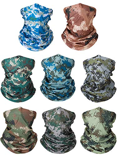 8 Pieces Summer UV Protection Neck Gaiter Scarf Balaclava Breathable Face Cover Scarf