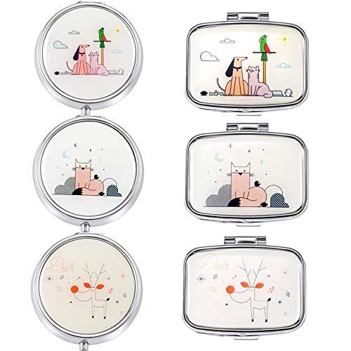 Haosell - Pastillero de metal (6 unidades, 3 compartimentos, con espejo, tamaño pequeño, para viajes, vitaminas, medicinas, tabletas, para uso diario y viaje)