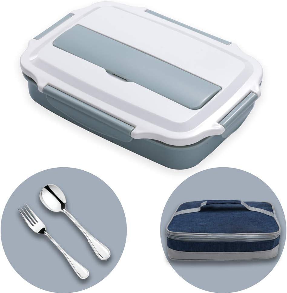 HUAFA Lunchbox Estilo bento, Incluyendo bolsas de almuerzo y cubiertos, Apto Para Microondas Y Lavavajillas, Duradero, Saludable Y Con Estilo, Apto Para Adultos Y Niños (Azúl)
