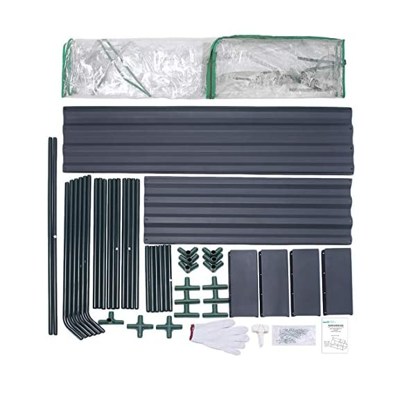 Quictent 49''x37''x36'' Extra-Thick Galvanized Steel Raised Garden Bed Planter Kit Box with Greenhouse 2 Large Zipper… 5 √【Dual Use Raised Bed】Use the raised garden bed and greenhouse together to keep plants warm and growing in winter and spring. Or move the greenhouse to keep other small plants to grow, do as your need. Give you more freedom to use these two parts. √【Extra-thick Reinforced Galvanized Steel】--- 0.5mm thickness galvanized side, 1.0mm galvanized sheet for corner, 11.8inch in height, perfect size with extra-thick steel, stable for using at least 5 years. √【Eco-friendly Galvanized Paint】--- Use eco-friendly galvanized paint, efficiently prevent rust; And with the advanced dark grey, the most popular color, give your garden more beauty. Also never worry about that pest and rain damage the wood garden bed; galvanized steel garden bed provides lasting use and no discoloration.